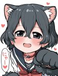 1girl alternate_costume animal_ears black_hair blue_eyes blush bow bowtie cat_ears cat_girl coat commentary_request extra_ears eyebrows_visible_through_hair gloves highres kaban_(kemono_friends) kemono_friends kemonomimi_mode looking_at_viewer no_hat no_headwear paw_gloves paw_pose paws ransusan red_coat red_neckwear sailor_collar school_uniform serafuku short_hair translation_request