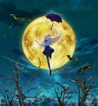 bare_tree bat black_footwear black_hair black_ribbon blonde_hair bow bowtie fang floating floating_hair forest full_body full_moon hair_ribbon highres key_visual loafers long_hair looking_at_viewer mai_vlad_transylvania miniskirt moon nature night night_sky official_art open_mouth pantyhose pleated_skirt red_eyes red_neckwear ribbon school_uniform shirt shoes short_sleeves skirt sky star_(sky) starry_sky tree umbrella vlad_love white_shirt