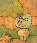 1boy animal_ears doubutsu_no_mori flower glasses grass hakase_(doubutsu_no_mori) leaf louivi pig pig_ears pig_tail sky solo tail tree