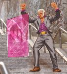 1boy 3d_background aegis_reflector arms_up belt_buckle breasts buckle clenched_hands closed_eyes commentary dark_skin english_commentary fist_pump forehead_jewel formal full_body grey_suit joker_(2019) madguymao male_focus parody pinstripe_suit purple_shirt shirt sideboob solo stairs street_fighter street_fighter_v striped suit urien white_hair