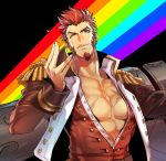 1boy abs beard blue_eyes brown_hair chest epaulettes facial_hair fate/grand_order fate_(series) highres karipaku_okusare long_sleeves looking_at_viewer male_focus military military_uniform muscle napoleon_bonaparte_(fate/grand_order) open_clothes pectorals rainbow scar simple_background smile solo uniform upper_body