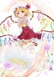 1girl ascot blonde_hair bow collared_shirt cosmos_(flower) crystal fang flandre_scarlet flower frilled_shirt frilled_shirt_collar frilled_skirt frilled_sleeves frills full_body happiness_lilys hat hat_ribbon highres looking_at_viewer medium_hair mob_cap one_side_up puffy_short_sleeves puffy_sleeves purple_flower red_bow red_eyes red_footwear red_ribbon red_skirt red_vest ribbon shirt short_hair short_sleeves side_ponytail skirt skirt_set solo touhou transparent vest white_flower white_legwear white_shirt wings wrist_cuffs yellow_neckwear