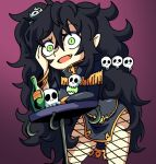 1girl black_hair bottle commission fang green_eyes hair_ornament hand_on_own_face kugasari-san leaning_on_object looking_at_viewer open_mouth original purple_background purple_eyeshadow setz skull skull_hair_ornament smile solo table