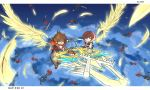 1boy 1girl attack blue_eyes brown_hair clenched_teeth feathered_wings feathers fingerless_gloves flying gloves glowing glowing_wings highres hood hood_down jacket kairi_(kingdom_hearts) keyblade kingdom_hearts kingdom_hearts_iii night night_sky serious short_hair sky sleeveless sora_(kingdom_hearts) spiky_hair spoilers teeth weapon wings wristband zafa-02