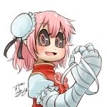 1girl avatar_icon bandaged_arm bandages black_sclera bun_cover chamaji chinese_clothes commentary double_bun eyebrows_visible_through_hair flower hair_ornament hair_ribbon ibaraki_kasen looking_at_viewer lowres pink_eyes pink_flower pink_hair pink_rose pointy_ears puffy_short_sleeves puffy_sleeves ribbon rose short_hair short_sleeves sidelocks signature smile solo tabard touhou upper_body white_background
