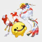 bell chimecho chingling floating flower_knot full_body gen_3_pokemon gen_4_pokemon grey_background hair_ornament hair_stick happy jingle_bell newo_(shinra-p) no_humans open_mouth pokemon pokemon_(creature) shiny shiny_skin simple_background smile yellow_eyes