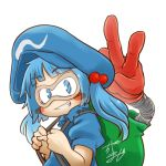 1girl avatar_icon backpack bag bangs blue_eyes blue_hair blush_stickers chamaji commentary eyebrows_visible_through_hair frilled_shirt_collar frills goggles hair_bobbles hair_ornament hat kappa kawashiro_nitori looking_at_viewer lowres mechanical_arm medium_hair puffy_short_sleeves puffy_sleeves short_sleeves short_twintails sidelocks signature smile solo touhou twintails two_side_up upper_body v white_background