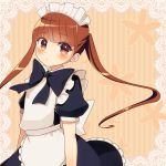 1girl apron back_bow bangs black_dress black_neckwear blunt_bangs blush bow bowtie brown_eyes brown_hair commentary dress long_hair looking_at_viewer maid maid_headdress mikeseneko original puffy_short_sleeves puffy_sleeves short_sleeves solo striped striped_background twintails upper_body vertical-striped_background vertical_stripes white_bow