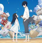 1boy 1girl backpack bag bangs barefoot beach belt black_hair blue_sky blunt_bangs box cardboard_box clouds cup dress envelope father_and_daughter formal full_body goto_hime goto_kakushi highres hime_cut ink_bottle innertube instrument kakushigoto key_visual long_hair looking_at_another marble mug notebook ocean official_art outdoors paper paper_bag pen randoseru recorder shirt short_hair sky sleeveless sleeveless_dress sparkle stuffed_animal stuffed_toy suit sundress toothbrush waves white_shirt