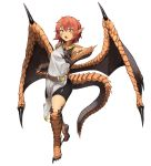 1girl animal_ears belt bike_shorts dragon_ears dragon_girl dragon_tail dragon_wings fighting_stance full_body hair_between_eyes highres hitokuirou looking_at_viewer monster_girl open_mouth original red_eyes redhead scales short_hair simple_background solo solo_vivace_(hitokuirou) standing tabard tail tiptoes white_background wings