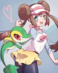 1girl ass black_legwear blue_eyes blush breasts brown_hair double_bun highres long_hair looking_at_viewer mei_(pokemon) open_mouth pantyhose pokemon pokemon_(creature) pokemon_(game) pokemon_bw2 raglan_sleeves s_(happycolor_329) simple_background smile snivy twintails very_long_hair visor_cap