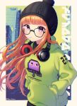 1girl artist_name bangs black_headwear candy eyebrows_visible_through_hair food glasses green_hoodie headphones headphones_around_neck highres in_mouth lollipop long_hair long_sleeves looking_at_viewer nabekokoa orange_hair persona persona_5 sakura_futaba violet_eyes