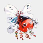 bell black_eyes closed_mouth fangs fish full_body gen_1_pokemon grey_background horn jingle_bell kouhaku_nawa newo_(shinra-p) no_humans pokemon pokemon_(creature) seaking shiny shiny_skin simple_background solo