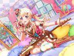 bang_dream! blonde_hair blush dress guitar long_hair pink_eyes shirasagi_chisato smile twintails