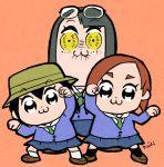 3girls :3 asakusa_midori asymmetrical_bangs bangs bkub_(style) blazer bucket_hat eizouken_ni_wa_te_wo_dasu_na! eyebrows_visible_through_hair eyebrows_visible_through_hat eyewear_on_head grimace hat jacket kanamori_sayaka kiichi mizusaki_tsubame multiple_girls navy_blue_skirt orange_background over-rim_eyewear parody poptepipic sailor_collar sanpaku semi-rimless_eyewear simple_background style_parody yellow_eyes