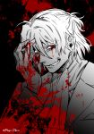 1boy antonio_salieri_(fate/grand_order) arm_up blood blood_on_face bloody_clothes bloody_hands fate/grand_order fate_(series) gloves long_sleeves looking_at_viewer male_focus meiji_ken monochrome red_eyes short_hair smile smirk solo teeth upper_body