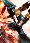 1boy biceps blonde_hair buster_sword cloud_strife commentary_request final_fantasy final_fantasy_vii final_fantasy_vii_remake gauntlets green_eyes highres holding holding_sword holding_weapon huge_weapon male_focus materia muscle pants sleeveless sleeveless_turtleneck solo spiky_hair sword tdsuke turtleneck weapon