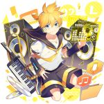 1boy bangs bass_clef beamed_eighth_notes belt black_collar black_shorts black_sleeves blonde_hair blue_eyes bow cd collar detached_sleeves envelope folder full_body hair_bow headphones headset holographic_interface instrument kagamine_len keyboard_(instrument) keytar looking_at_viewer male_focus microphone_symbol musical_note nail_polish necktie sailor_collar school_uniform seiza shirt short_ponytail short_sleeves shorts sinaooo sitting smile solo speaker swept_bangs vocaloid white_bow white_shirt yellow_nails yellow_neckwear