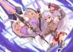 1girl :d ahoge armpits aura axe bare_shoulders big_hair breasts draph dunceneygak elbow_gloves gloves granblue_fantasy grey_gloves grey_hair hair_between_eyes highres holding holding_weapon horns large_breasts leaning_forward long_hair looking_at_viewer metal_boots open_mouth red_eyes red_skirt skindentation skirt smile solo thalatha_(granblue_fantasy) thigh-highs thighhighs_under_boots very_long_hair weapon wristband