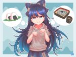 1girl abstract_background arms_up artist_name blue_background blue_eyes blue_hair blue_skirt bright_pupils commentary cup debt eyebrows_visible_through_hair food gradient gradient_background grey_hoodie hair_ribbon half-closed_eyes head_tilt highres hood hood_down long_hair looking_at_viewer noodles onigiri paw_pose pleated_skirt ribbon skirt smile solo soy_sauce standing thought_bubble touhou udon upper_body very_long_hair white_pupils yorigami_shion zanasta0810