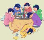 6+boys :3 alcohol bag balancing beer beer_bottle beer_can beige_background blue_hoodie blush bottle brothers can can_opener cellphone closed_eyes closed_mouth cup drink drinking_glass esper_nyanko food from_behind green_hoodie half-closed_eyes hand_up hands_up holding holding_can holding_cellphone holding_phone hood hood_down hoodie kotatsu looking_at_another looking_down lying male_focus matsuno_choromatsu matsuno_ichimatsu matsuno_juushimatsu matsuno_karamatsu matsuno_osomatsu matsuno_todomatsu multiple_boys o3o on_side open_mouth osomatsu-kun osomatsu-san parted_lips phone pink_hoodie plastic_bag profile puckered_lips purple_hoodie red_hoodie sextuplets siblings simple_background sitting sleeping sleeping_upright smartphone smile spilling stacking table torutsu triangle_mouth under_kotatsu under_table v-shaped_eyebrows yellow_hoodie