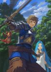 1boy 1girl ahoge armor belt blue_eyes blue_hair blue_shirt blue_sky bracelet breastplate brown_eyes brown_hair brown_pants character_request clouds day dragon fighting_stance flying forest gloves granblue_fantasy highres holding holding_sword holding_weapon jewelry legs_apart long_hair nature open_mouth outdoors pants scared shirt sky sword tree very_long_hair wasabi60 weapon