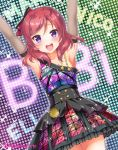 1girl :d \o/ armpits arms_up black_gloves breasts character_name collarbone diamond_princess_no_yuuutsu dress elbow_gloves frilled_dress frills gloves group_name hair_ribbon looking_at_viewer love_live! love_live!_school_idol_project medium_hair nishikino_maki open_mouth outstretched_arms red_ribbon redhead ribbon sakurai_makoto_(custom_size) screen single_strap sleeveless sleeveless_dress small_breasts smile solo sparkle sweat twitter_username violet_eyes