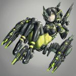 1girl black_bodysuit black_hair bodysuit green_eyes grey_background hair_between_eyes half_mask highres looking_at_viewer mecha_musume one_eye_covered original science_fiction shiny shiny_clothes short_twintails skin_tight solo twintails yumikoyama49