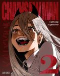 1girl absurdres blonde_hair chainsaw_man collared_shirt copyright_name demon_horns evil_smile eyelashes fangs formal hair_between_eyes highres horns laughing long_hair looking_at_viewer necktie parody power_(chainsaw_man) red_background sharp_teeth shirt smile solo teeth tongue white_shirt yellow_eyes