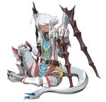 1girl ahoge belt blue_eyes claws dark_skin dragon_girl dragon_tail dragon_wings gauntlets grey_hair hand_on_hilt highres hitokuirou looking_at_viewer mail original planted_sword planted_weapon pointy_ears scales simple_background sitting smile solo sword tabard tail tattoo weapon white_background wings