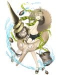 1boy ahoge bucket chain clam eyewear_on_head full_body goggles goggles_on_head green_eyes green_hair hat hat_around_neck innertube ji_no looking_at_viewer male_swimwear navel official_art pinocchio_(sinoalice) sandals see-through sinoalice solo straw_hat swim_trunks swimwear transparent_background upper_teeth water