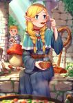 1boy 1girl absurdres belt blonde_hair blue_dress blue_eyes bowl braid choker dress dungeon_meshi eating elf flat_chest food hair_over_shoulder hair_pulled_back highres huge_filesize laios_thorden long_hair low-tied_long_hair marcille monster mr.lime mushroom pointy_ears red_choker sitting solo_focus soup spoon spoon_in_mouth tongue tongue_out tunic twin_braids wide_sleeves wooden_spoon