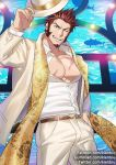 1boy abs alternate_costume bara beard belt blue_eyes brown_hair chest facial_hair fate/grand_order fate_(series) hand_in_pocket hat kienbiu long_sleeves looking_at_viewer male_focus muscle napoleon_bonaparte_(fate/grand_order) one_eye_closed open_clothes pants pectorals scar scarf smile solo