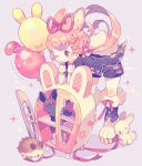 1girl :3 ;) animal animal_ear_fluff animal_ears artist_name balloon bangs bent_over boots bunny_tail carrot_hair_ornament cup food_themed_hair_ornament fur-trimmed_boots fur_trim grey_background hair_ornament hair_ribbon hedgehog highres jacket leaning_on_object long_hair nail_polish one_eye_closed original paw_boots pink_hair rabbit rabbit_ears red_eyes red_nails red_ribbon ribbon saucer shelf short_sleeves shorts smile solo sparkle striped striped_ribbon symbol_commentary tail teacup twintails wrist_cuffs yumenouchi_chiharu