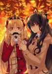 2girls :t autumn_leaves bangs black_bow black_hair blonde_hair blurry blurry_background blush bow brown_coat brown_scarf closed_mouth coat collared_shirt commentary cup depth_of_field disposable_cup english_commentary ereshkigal_(fate/grand_order) eyebrows_visible_through_hair fate/grand_order fate_(series) food fringe_trim hair_between_eyes hair_bow holding holding_cup holding_food hood hood_down hooded_coat ishtar_(fate)_(all) ishtar_(fate/grand_order) leaf long_hair long_sleeves looking_at_viewer maple_leaf multiple_girls parted_bangs pout red_bow red_coat red_eyes scarf shirt sweet_potato ten-chan_(eternal_s) twitter_username two_side_up very_long_hair white_shirt