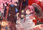 1girl ahoge alternate_costume bug butterfly cherry_blossoms floral_print flower green_eyes hair_between_eyes hair_flower hair_ornament highres hololive insect japanese_clothes lantern marcellokito! over_shoulder petals pink_hair sakura_miko stairs umbrella virtual_youtuber