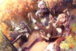 3girls 909089089 absurdres armchair autumn autumn_leaves azur_lane black_legwear black_pants black_sweater blonde_hair blue_eyes blush book boots breasts brown_jacket chair character_request closed_eyes full_body hair_ornament hat highres huge_filesize jacket large_breasts leaf long_hair long_skirt long_sleeves looking_at_viewer maple_leaf multiple_girls open_mouth outdoors pants pantyhose red_eyes silver_hair sitting skirt smile sweater table tree white_footwear