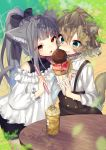2girls :o animal_ear_fluff animal_ears bangs bare_shoulders bike_shorts black_bow black_shirt black_shorts blue_eyes blurry blurry_background blurry_foreground blush bow brown_hair brown_skirt cat_ears cat_girl cat_tail commentary_request cup day depth_of_field double_scoop drinking_glass drinking_straw eyebrows_visible_through_hair food food_on_face grey_hair hair_between_eyes hair_bow hair_ornament hairclip high_ponytail highres holding holding_food ice_cream ice_cream_cone long_sleeves multiple_girls nachiru nose_blush off-shoulder_shirt off_shoulder original outdoors parted_lips ponytail puffy_long_sleeves puffy_sleeves red_eyes shirt short_shorts shorts skirt sleeveless sleeveless_shirt suspender_skirt suspenders table tail tail_raised white_shirt x_hair_ornament
