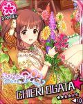 blush brown_eyes brown_hair character_name dress flower idolmaster idolmaster_cinderella_girls long_hair ogata_chieri smile stars twintails