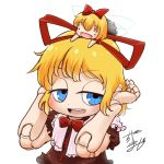 ._. 2girls avatar_icon blonde_hair blue_eyes bow chamaji commentary_request doll doll_joints dress eyebrows_visible_through_hair fairy_wings frilled_shirt_collar frills hair_bow hair_ribbon looking_at_viewer lowres medicine_melancholy multiple_girls puffy_short_sleeves puffy_sleeves red_bow red_dress red_neckwear red_ribbon ribbon short_hair short_sleeves signature smile su-san touhou upper_body white_background wings