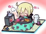 1girl :o ahoge artoria_pendragon_(all) bangs black_jacket blonde_hair blush_stickers bowl braid character_doll chibi closed_eyes commentary_request eyebrows_visible_through_hair facing_viewer fate/grand_order fate_(series) food fruit full_body glasses heater jacket kasuga_yuuki kotatsu mandarin_orange mysterious_heroine_x mysterious_heroine_x_(alter) parted_lips pink_scarf scarf sidelocks sitting solo table teapot tray