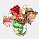 baseball_cap beanie black_eyes brown_headwear bug camouflage_headwear caterpie clothed_pokemon full_body gen_1_pokemon gen_3_pokemon grey_background half-closed_eyes hat horn looking_up newo_(shinra-p) no_humans pokemon pokemon_(creature) red_headwear shiny shiny_skin simple_background straw_hat weedle wurmple yellow_sclera