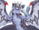 1girl :d ahoge armpits arms_behind_head black_sclera breasts bright_pupils cyclops dragon_girl dragon_horns dunceneygak eyelashes fang grey_hair horns lamia long_hair looking_at_viewer medium_breasts monster_girl navel one-eyed open_mouth original parted_lips purple_skin red_eyes scales simple_background slit_pupils smile solo spread_wings white_background wings