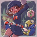 1girl alternate_costume brown_eyes brown_hair cabbie_hat cosplay dunsparce gloves hat holding kotone_(pokemon) open_mouth poke_ball poke_ball_(generic) pokemon pokemon_(creature) pokemon_(game) pokemon_hgss s_(happycolor_329) skirt smile team_rocket_uniform thigh-highs twintails