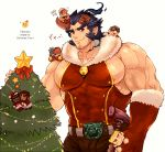 1boy abs bara beard belt black_hair chest christmas christmas_tree facial_hair fang hat hephaestus_(tokyo_houkago_summoners) horns jewelry looking_at_viewer male_focus muscle necklace nipples pectorals scar simple_background smile solo takemaru_(tokyo_houkago_summoners) teeth tokyo_houkago_summoners tora_d