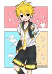 1boy asa_hir_yor bass_clef black_eyes blonde_hair blush clouds detached_sleeves headphones headset highres kagamine_len leg_warmers necktie sailor_collar senpai_ga_uzai_kouhai_no_hanashi shorts star sweatdrop vocaloid yuuto_(shiromanta)
