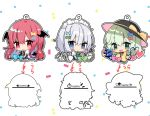 3girls :> :/ :d bat_wings blue_eyes blush bow chibi commentary_request directional_arrow green_eyes green_hair hair_bow hat hat_bow head_wings heart izayoi_sakuya knife koakuma komeiji_koishi long_hair long_sleeves looking_at_viewer low_wings maid maid_headdress multiple_girls natsuki_(ukiwakudasai) necktie open_mouth outline red_eyes redhead short_hair short_sleeves silhouette silver_hair simple_background smile stopwatch sun_hat third_eye touhou upper_body watch white_background wide_sleeves wings yellow_neckwear