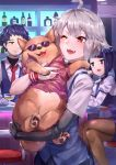 1boy 1other 2girls absurdres ahoge animal animal_hug bar bartender dana_zane dog facial_hair gillian_(va-11_hall-a) goatee hawaiian_shirt highres jill_stingray long_hair mechanical_arm mr.lime multiple_girls one_eye_closed prosthesis prosthetic_arm purple_hair rad_shiba red_eyes shiba_inu shirt short_hair silver_hair smile sunglasses twintails va-11_hall-a violet_eyes