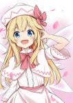 1girl absurdres bangs blonde_hair blue_eyes blush bow bowtie capelet collared_shirt dress eyebrows_visible_through_hair fairy_wings highres kaoshuzi lily_white long_hair looking_at_viewer open_mouth petals pink_background pink_dress pink_headwear red_bow red_neckwear red_ribbon ribbon shirt smile solo touhou wings