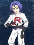 1boy blue_hair boots gloves green_eyes grey_background highres kojirou_(pokemon) pnattu_47 poke_ball pokemon pokemon_(anime) team_rocket